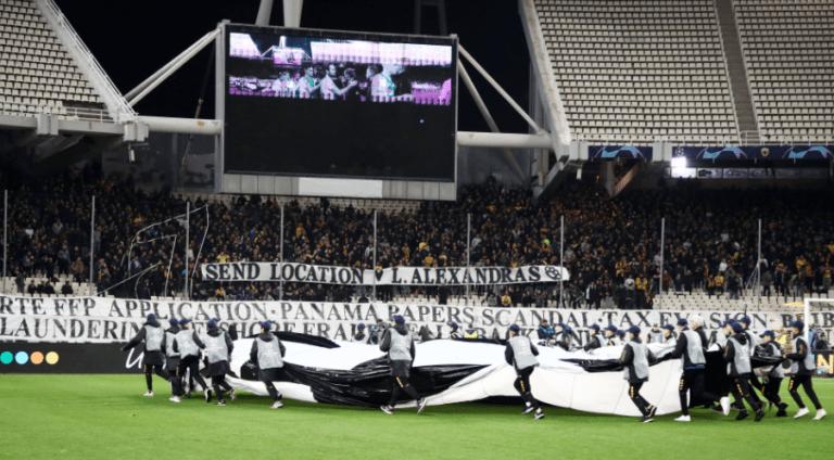 ΑΕΚ: Πανό κατά UEFA – FIFA στο ΟΑΚΑ
