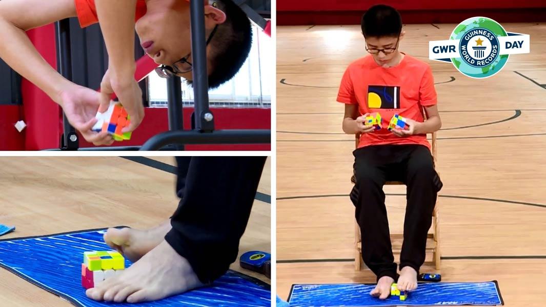 Έφηβος λύνει τρεις κύβους Rubik ταυτόχρονα και σπάει το ρεκόρ Guinness (vid)