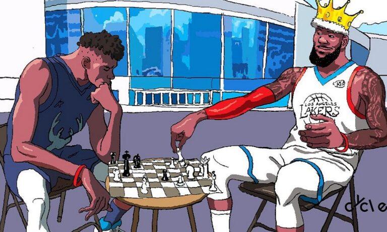 Το απίθανο σκίτσο ΛεΜπρόν και Giannis σε μία παρτίδα… σκάκι (pic)