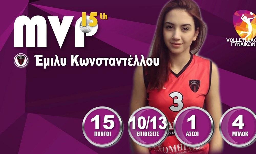 Α1 βόλεϊ γυναικών: MVP η Κωνσταντέλλου