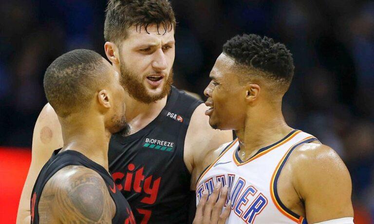 NBA: Ο Γουέστμπρουκ πέταξε τον Νούρκιτς στο παρκέ (vid)