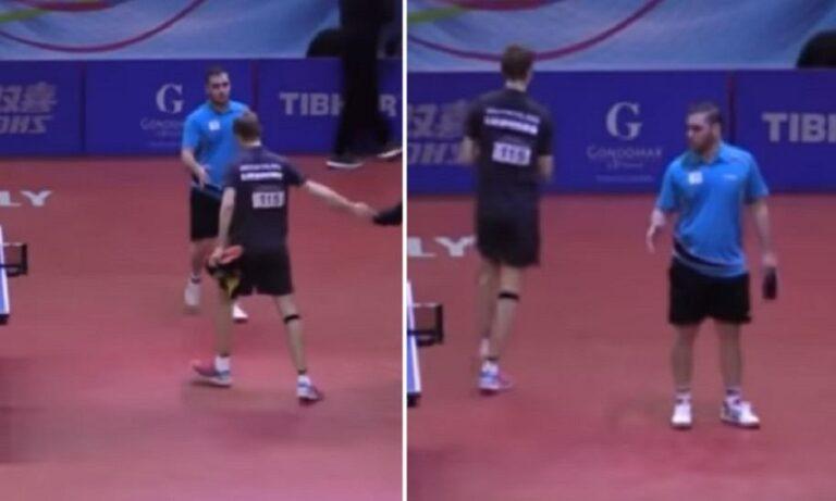 Έλληνας πρωταθλητής δίνει το χέρι του σε Γερμανό και εκείνος δεν το δέχεται (vid)