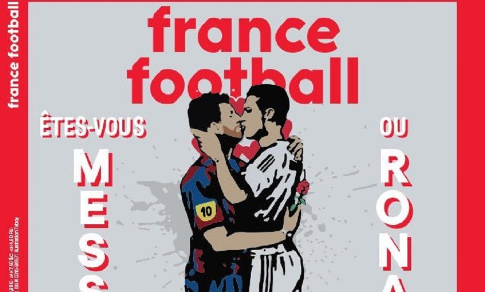 Ο Μέσι φιλάει τον Κριστιάνο στο εξώφυλλο του France Football (pic) - Sportime.GR