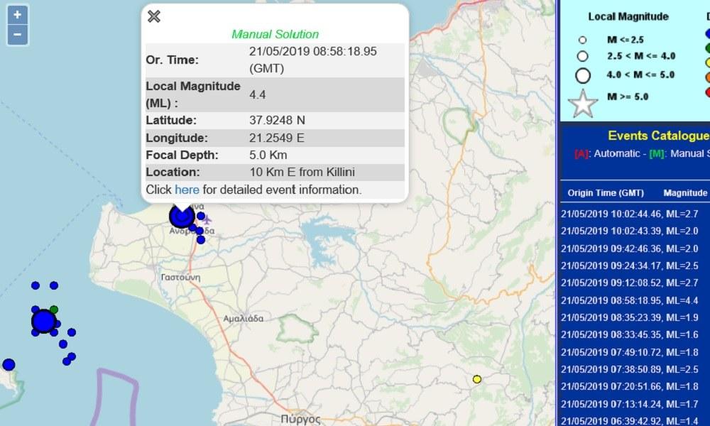 Ισχυρός σεισμός στην Ηλεία των 4,4 Ρίχτερ