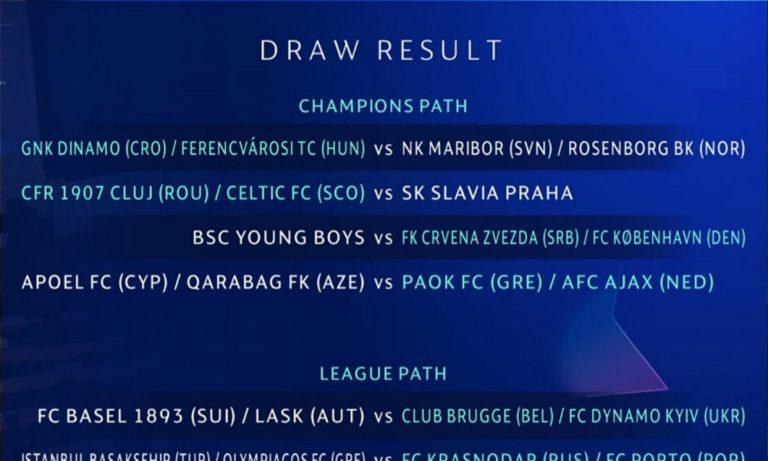 Champions League: Τα ζευγάρια των πλέι οφ