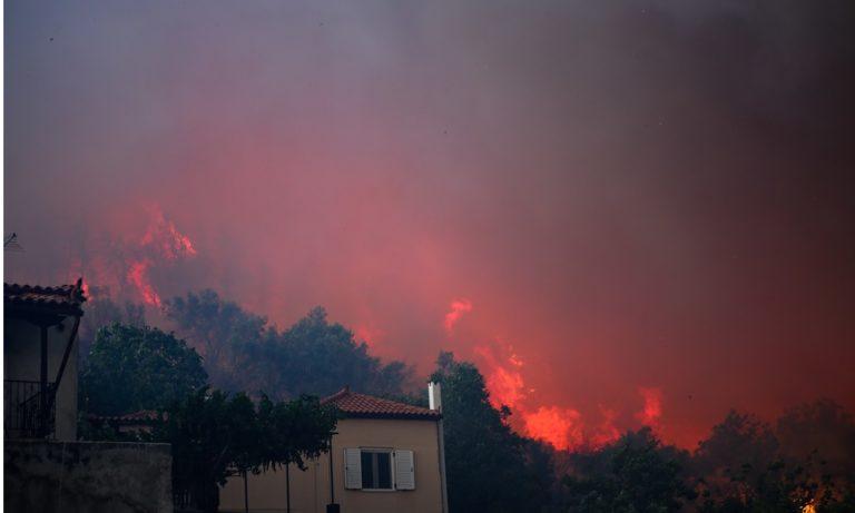 Φωτιά στην Εύβοια: Οι φλόγες μπήκαν στο χωριό Μακρυμάλλη (vids)