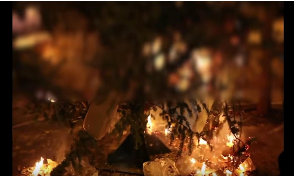 Έτσι έκαψαν το δέντρο στα Εξάρχεια (vid)