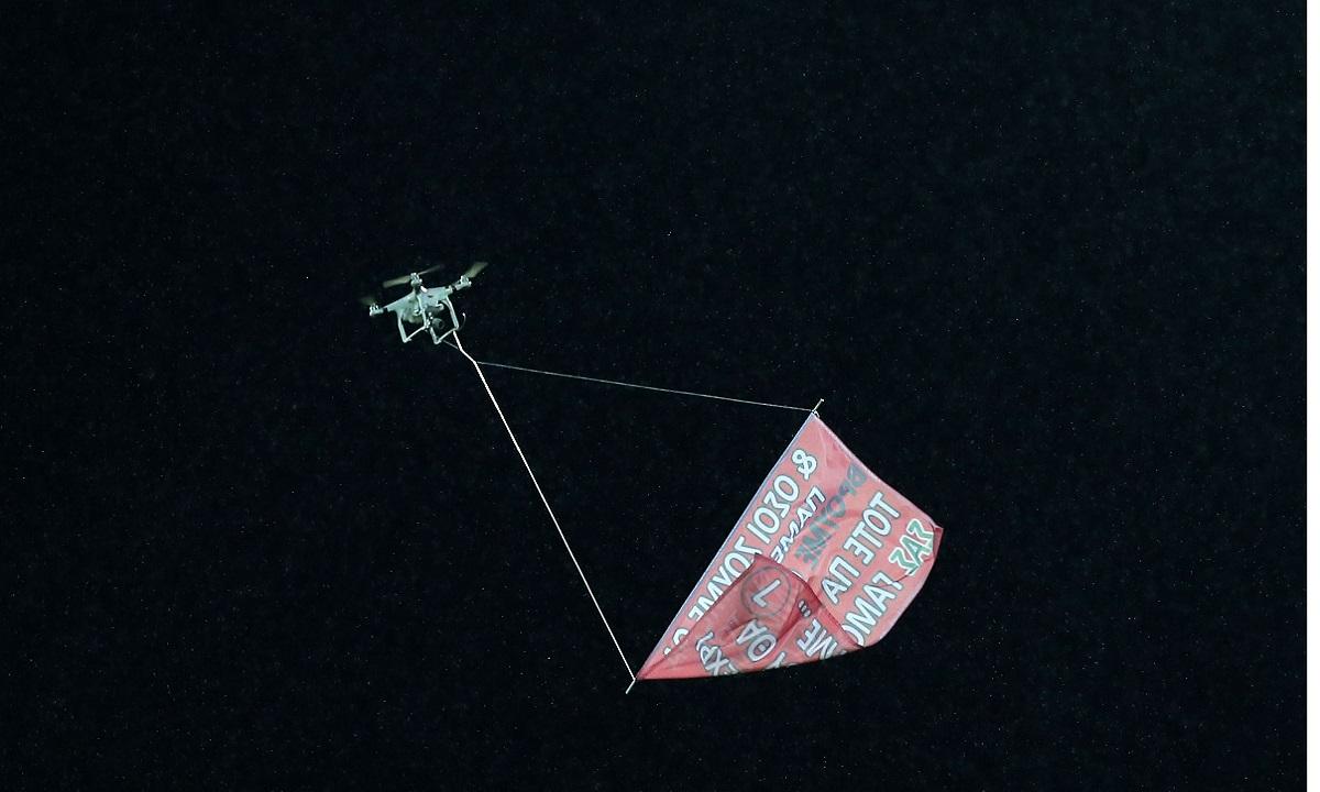 Αστέρας – Παναθηναϊκός: Drone με υβριστικό μήνυμα (pic)