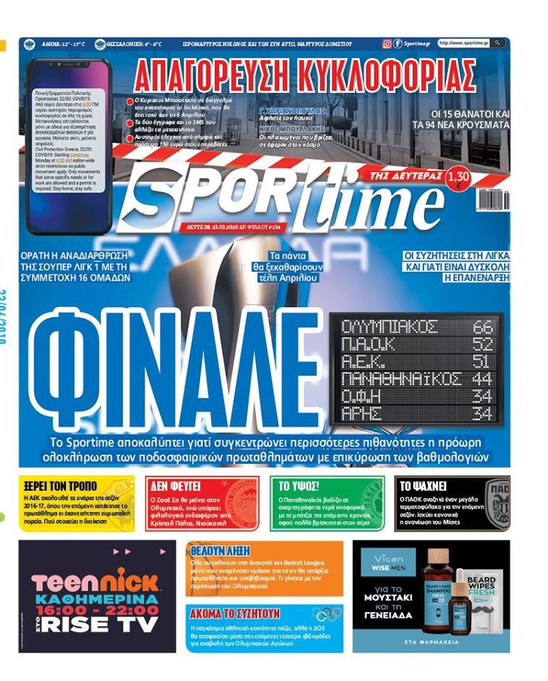 Εφημερίδα SPORTIME - Εξώφυλλο φύλλου 23/3/2020