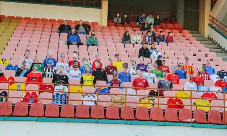 Λευκορωσία – ΕΠΟΣ: Κερκίδα γεμάτη κούκλες με πρόσωπα… φιλάθλων (vid)
