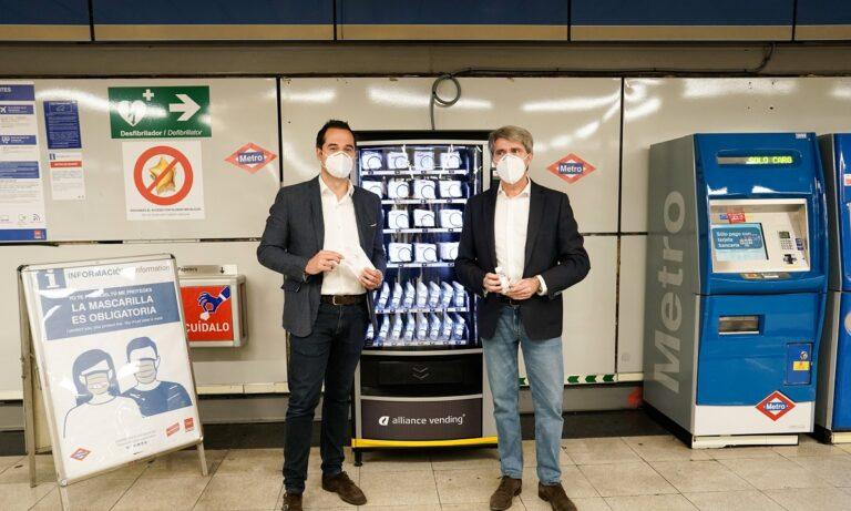 Μαδρίτη: Εγκατέστησε στο μετρό μηχάνημα με μάσκες και αντισηπτικά (pics)