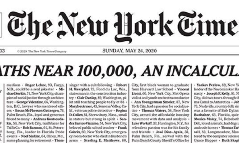 New York Times: Το πρωτοσέλιδο που συγκλόνισε! (pic)
