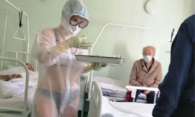 Νέα φωτογραφία με τη Ρωσίδα νοσηλεύτρια που εμφανίστηκε με τα εσώρουχα (pic)