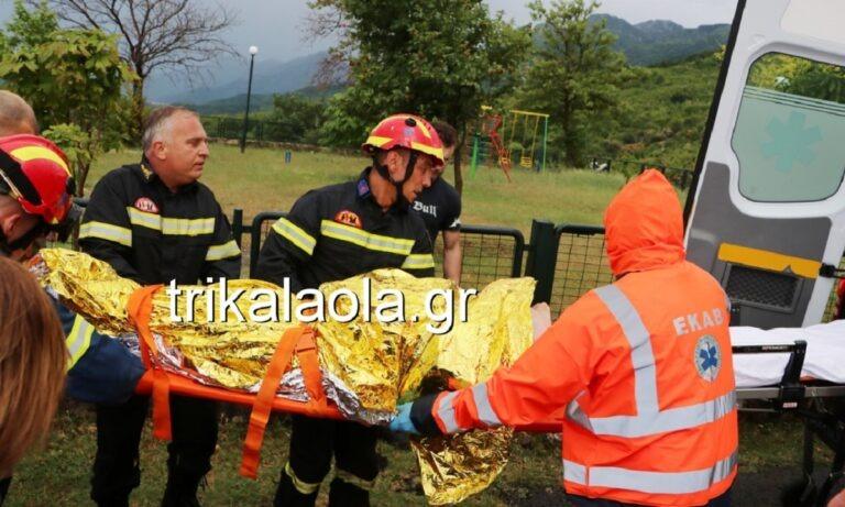 Τρίκαλα: Καρέ-καρέ η διάσωση ενός άντρα που έπεσε σε χαράδρα! (vid)