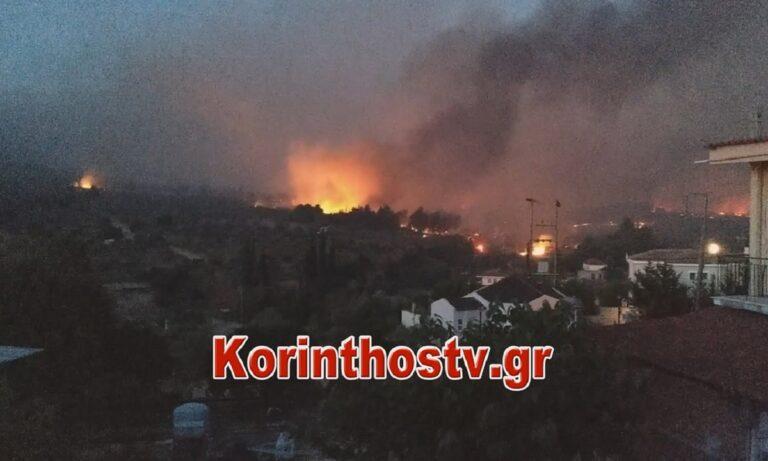 Κορινθία: Μαίνεται η φωτιά – Αναφορές για καμένα σπίτια