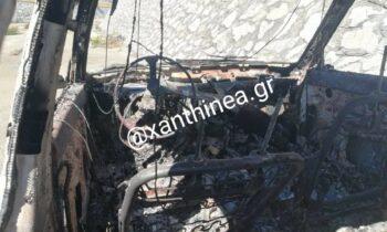 Ξάνθη: Ένα ακόμη κλεμμένο ΙΧ βρίσκεται καμένο στο Δροσερό (pics)