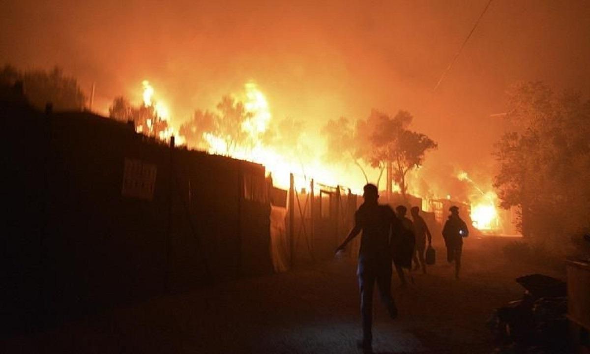 Μόρια: Κάηκε η δομή – Εκκενώθηκε, στον δρόμο οι μετανάστες