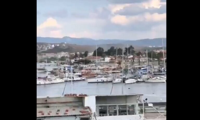 Σεισμός Σάμος: Η στιγμή που τσουνάμι «χτυπάει» στην Τουρκία (vid)