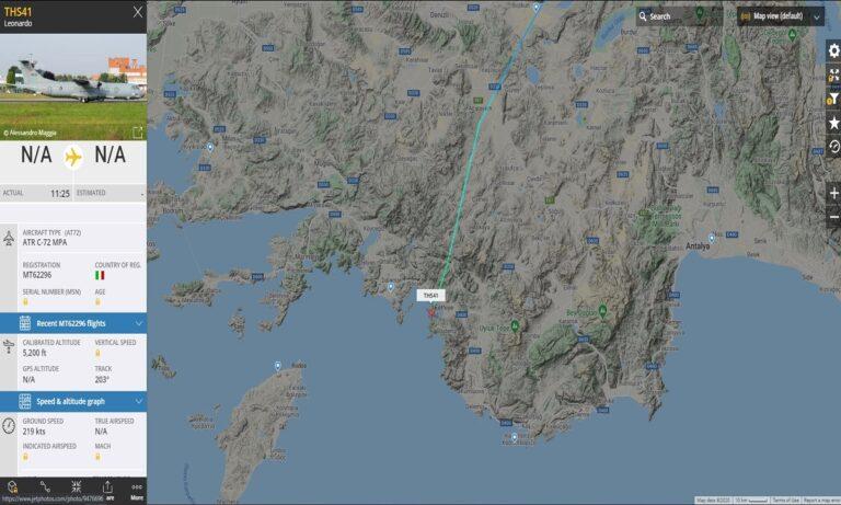 Ελληνικά υποβρύχια: Δαιμονισμένα τα ψάχνουν – Τουρκικό ATR C-72 MPA στο Καστελόριζο