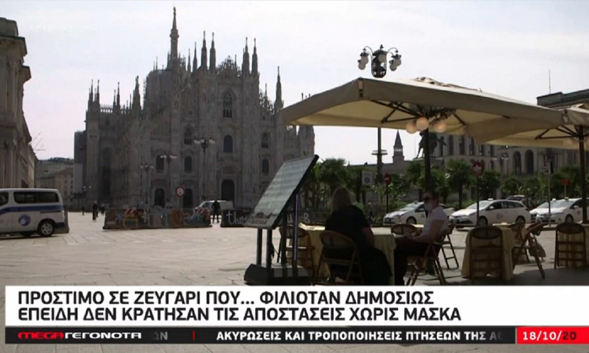 Κορονοϊός: Πρόστιμο σε ζευγάρι που… φιλιόταν δημοσίως – Σε ποια πόλη συνέβη (vid)