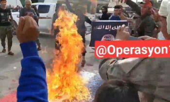 «Παλικάράδες» του Ερντογάν καίνε γαλλική σημαία, υψώνουν του ISIS (vid)