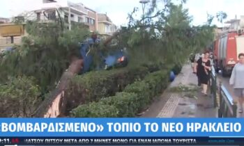 Κακοκαιρία: «Βομβαρδισμένο τοπίο» το Νέο Ηράκλειο, ανεμοστρόβιλος και πτώσεις δένδρων! (vid)