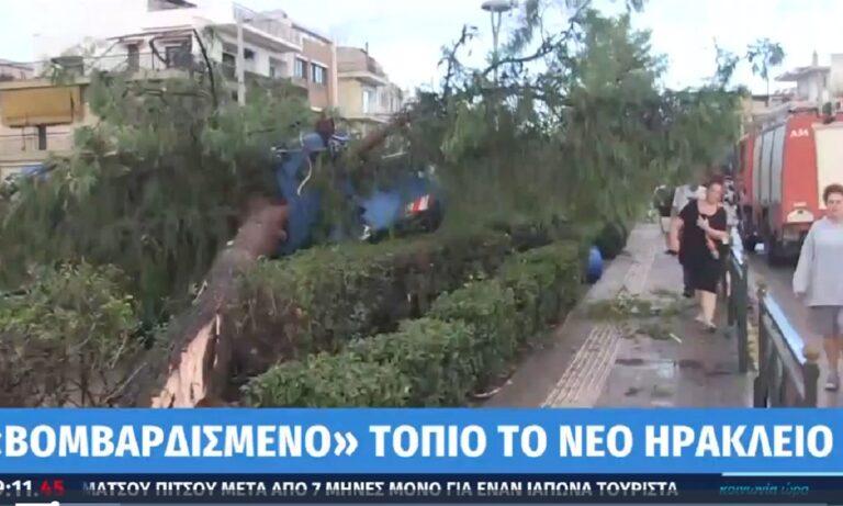 «Βομβαρδισμένο τοπίο» το Νέο Ηράκλειο, ανεμοστρόβιλος και πτώσεις δένδρων! (vid)