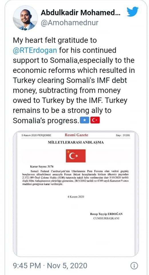Eλληνοτουρκικά: Ανατολίτικο παζάρι Ερντογάν με τον Σομαλό πρόεδρο του Διεθνούς Δικαστηριου της Χάγης - Πλήρωσε το μισό χρέος της Σομαλίας στο ΔΝΤ δηλαδή τους Αμερικάνους.
