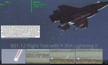 F-35: Μία σημαντική εξέλιξη είχαμε τις προηγούμενες μέρες, αφού όπως έγινε γνωστό F-35A πετώντας με ταχύτητα που ξεπερνούσε αυτή του ήχου πραγματοποίησε δοκιμή της νέας πυρηνικής βόμβας B61-12.
