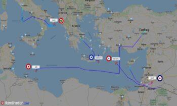 Eλληνοτουρκικά: Mεγάλη ήταν η κινητικότητα σήμερα στο Αιγαίο και την Ανατολική Μεσόγειο.
