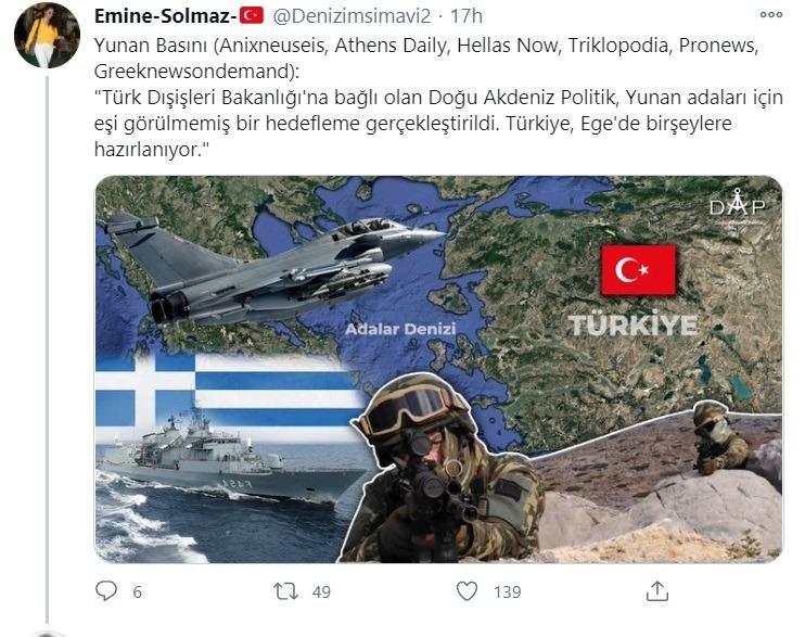 Τούρκοι: Δημοσιεύματα από την Ελλάδα αναπαράγονται σε τουρκικούς λογαριασμούς στο Twitter για την επιχειρησιακή προετοιμασία της Τουρκίας στο Αιγαίο και την Ανατολική Μεσόγειο.