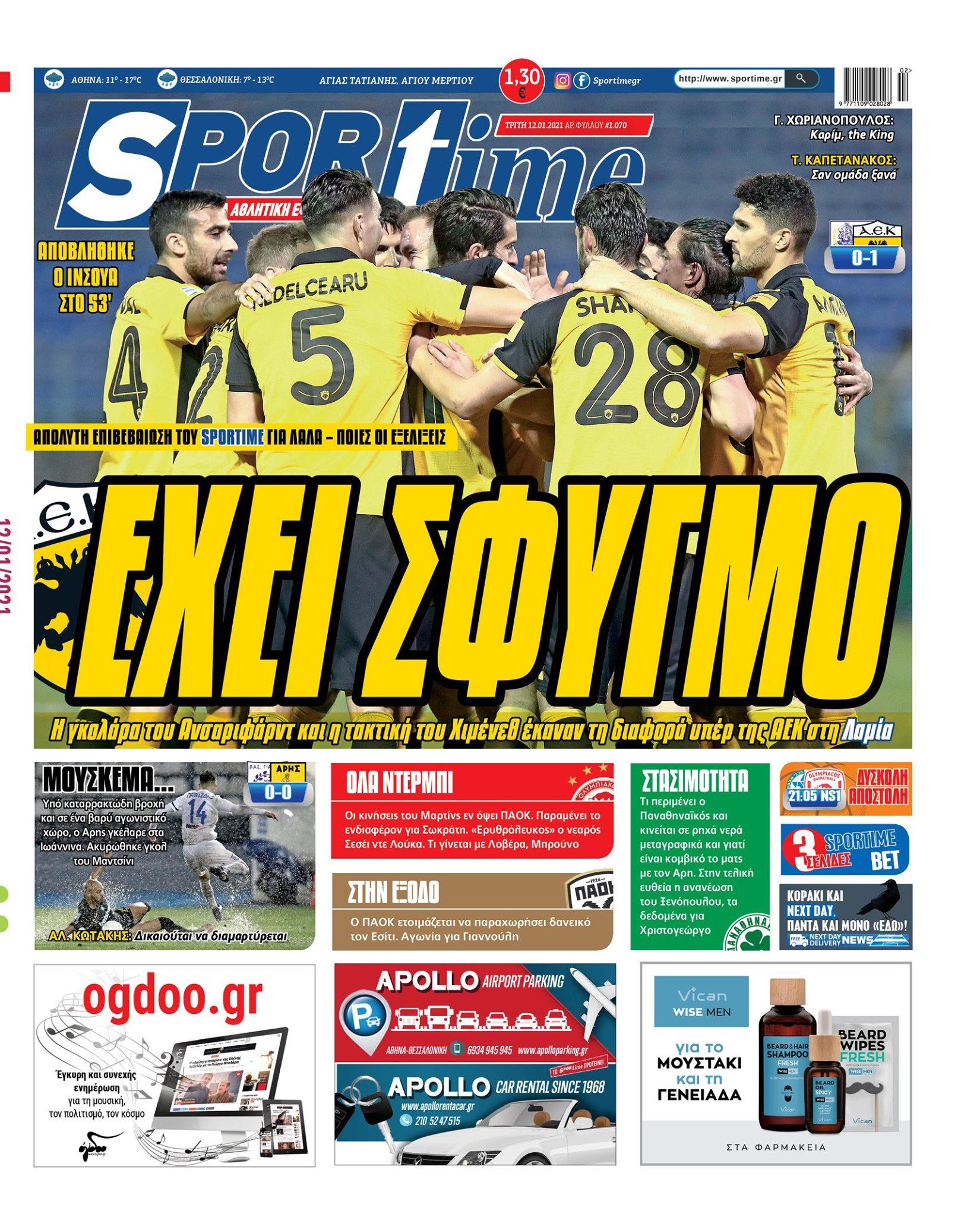 Εφημερίδα SPORTIME - Εξώφυλλο φύλλου 12/1/2021