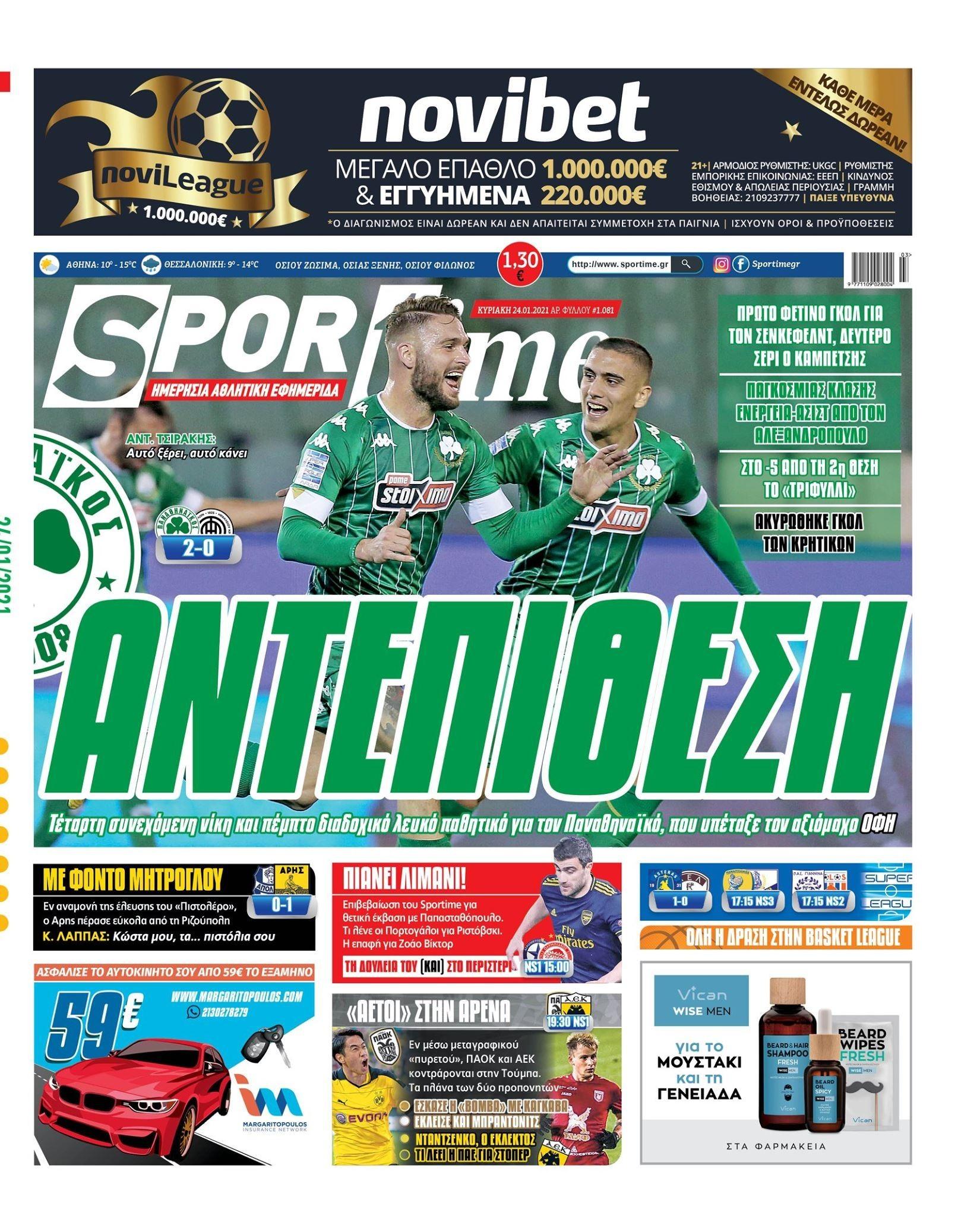 Εφημερίδα SPORTIME - Εξώφυλλο φύλλου 24/1/2021