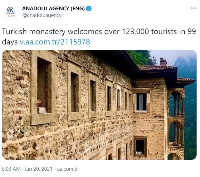 Παναϊα μ' ποισον το θαμα σ': Αφιέρωμα του τουρκικού πρακτορείου ειδήσεων Anadolu στο... τουρκικό μοναστήρι Σουμελά.