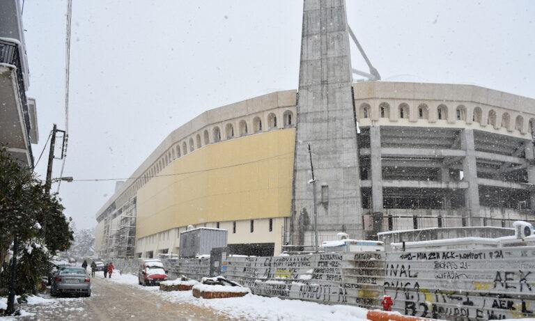 «Αγιά Σοφιά-OPAP ARENA»: Στα… λευκά το χιονισμένο σπίτι της ΑΕΚ! (pics-vid)
