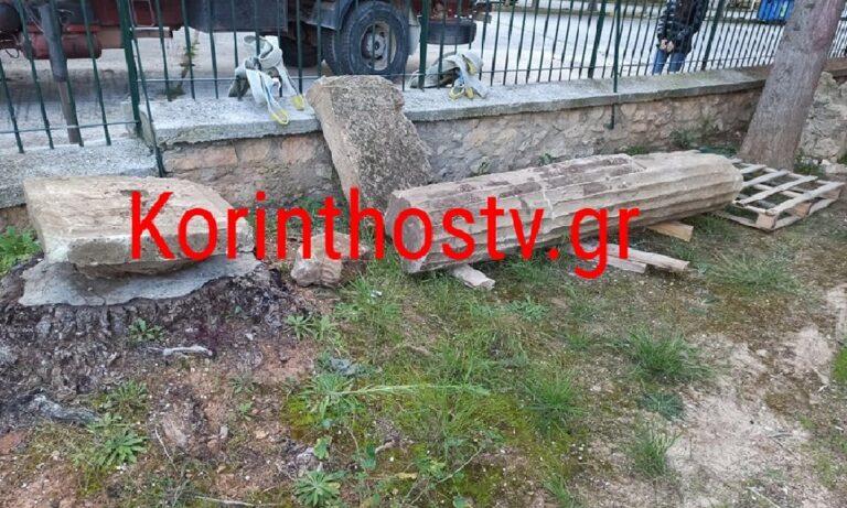 Νεμέα: Εντοπίστηκε αρχαίος κίονας σε ρέμα στο χωριό Πετρί