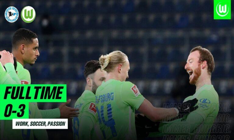 Το αήττητο στα οκτώ ματς διεύρυνε η Βόλφσμπουργκ μετά και τη νίκη με 3-0 επί της Αρμίνια Μπίλεφελντ, η οποία αντίθετα παραπαίει.