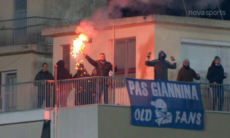 ΠΑΣ Γιάννινα: Οπαδοί με καπνογόνo σε ταράτσα! (vid)