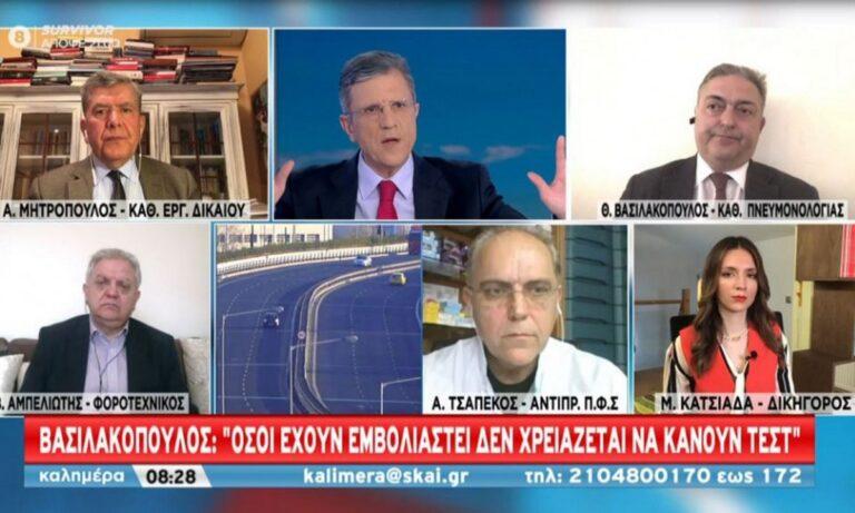 Βασιλακόπουλος – Κορονοϊός: «Αν έχεις εμβολιαστεί δεν χρειάζεσαι self test»