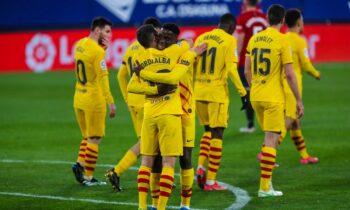 Η Μπαρτσελόνα προσπέρασε τη Ρεάλ Μαδρίτης χάρη στο σαββατιάτικο 2-0 επί της Οσασούνα για την 26η αγωνιστική της Primera Division.