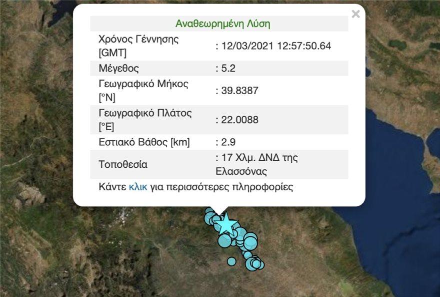 Σεισμός τώρα: Συνεχίζονται οι δονήσεις στην ευρύτερη περιοχή της Λάρισας, καθώς το μεσημέρι της Παρασκευής (12/3) είχαμε νέο σεισμό στην Ελασσόνα.