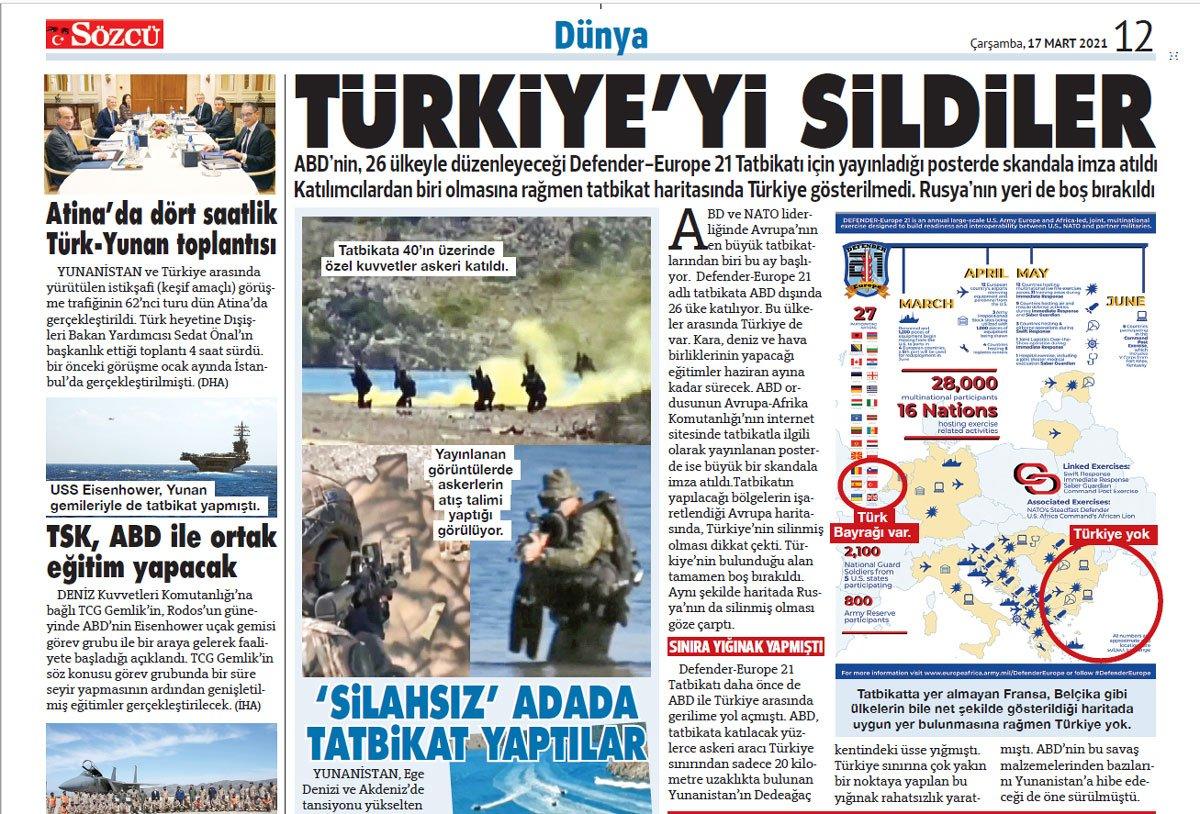 Defender-Europe 21: Οι ΗΠΑ έσβησαν την κυριολεξία την Τουρκία από τον χάρτη κατά την μεγαλύτερη άσκηση στην Ευρώπη.