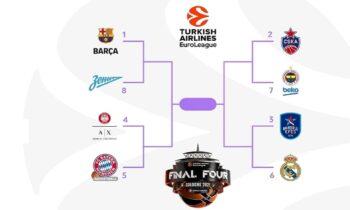 Με τους αγώνες Εφές- Ρεάλ Μαδρίτης και Αρμάνι Μιλάνο- Μπάγερν Μονάχου αρχίζουν την Τρίτη (20/4) τα PlayOffs στη φετινή Euroleague.