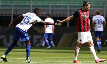Νέο «δώρο» στην πρωτοπόρο Ίντερ έκανε η Μίλαν, καθώς έμεινε στο 1-1 στην έδρα της με τη Σαμπντόρια, σε παιχνίδι για την 29η αγωνιστική της Serie A.