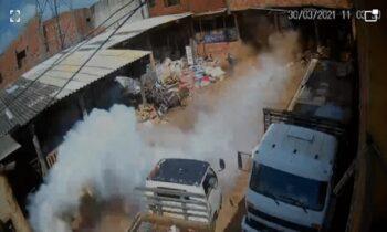 Βίντεο: Τρομακτική έκρηξη κυλίνδρου αερίου σε μάντρα με παλιοσίδερα
