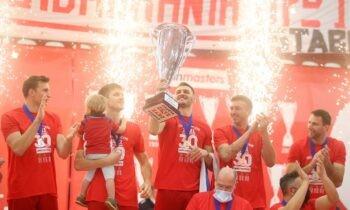 Ολυμπιακός: Επιβλήθηκε 3-0 σετ του ΠΑΟΚ και συνδύασε ιδανικά τη φιέστα για την κατάκτηση του πρωταθλήματος στη Volley League.