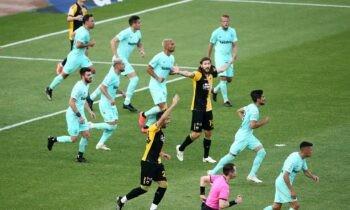 ΑΕΚ - Άρης 0-0: Ισόπαλο χωρίς τέρματα έληξε το ντέρμπι των «κιτρινόμαυρων» στο ΟΑΚΑ για την 10η και τελευταία αγωνιστική των πλέι οφ της Super League.
