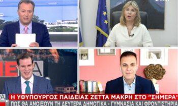 Self test: Η υφυπουργός Παιδείας Ζέττα Μακρή, μίλησε για το άνοιγμα των δημοτικών σχολείων, των γυμνασίων και των φροντιστηρίων ενίσχυσης και ξένων γλωσσών