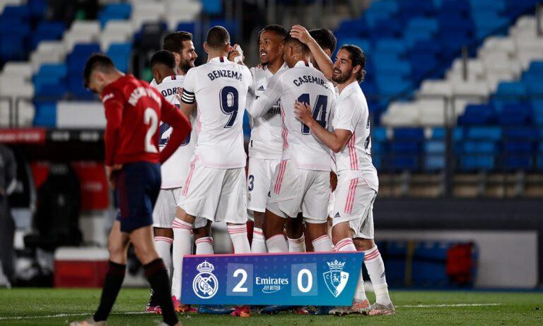 Ρεάλ Μαδρίτης: Επικράτησε 2-0 της Οσασούνα το βράδυ του Μεγάλου Σαββάτου, επανήλθε στο -2 από την Ατλέτικο Μαδρίτης και ελπίζει σε τίτλο.