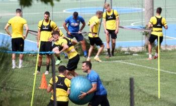 Στην φυσική κατάσταση δούλεψαν σήμερα, Τρίτη, οι ποδοσφαιριστές τηςΑΕΚ, στο αθλητικό κέντρο της Πορταριάς.